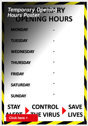 Temporary Opening Hours Poster