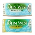 John West No Drain Tuna Steaks in Olive Oil/Springwater
